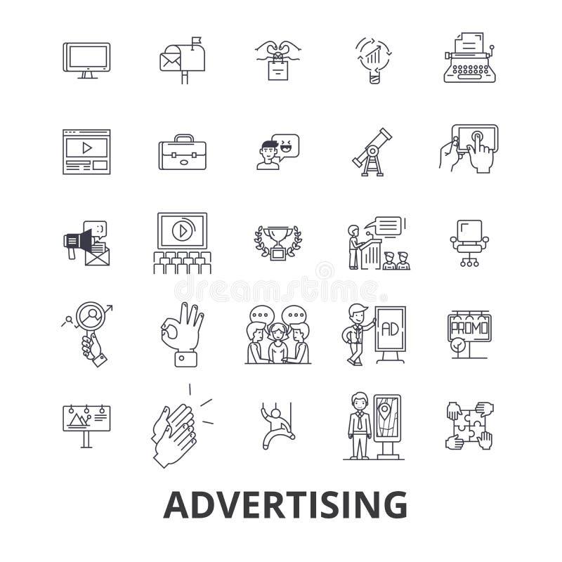 Reclame, marketing, sociale media, aanplakbord, nieuws, televisie, brandmerkende lijnpictogrammen Editableslagen Vlak Ontwerp stock illustratie