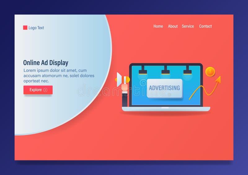 Reclame online, Digitale vertoning marketing, vectorwebmalplaatje met pictogrammen en tekst vector illustratie