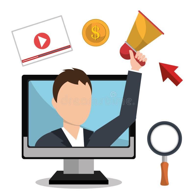 Reclame online en digitale marketing royalty-vrije illustratie