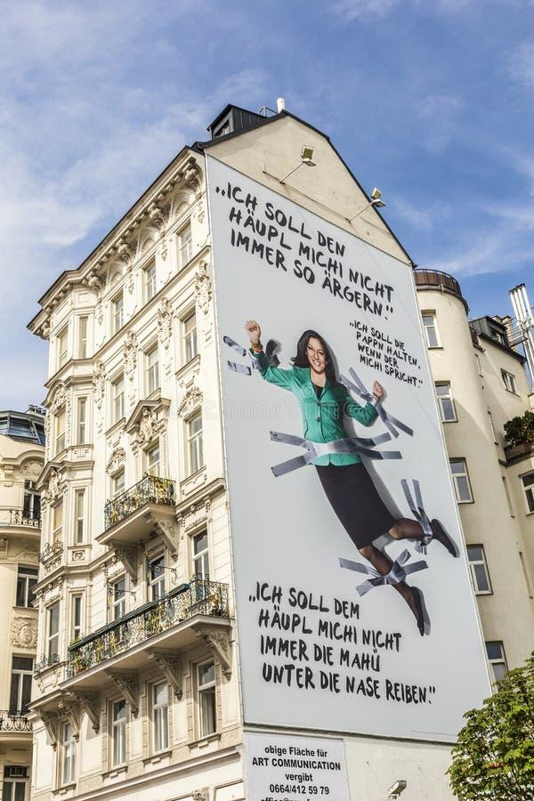Reclame van de groene partij van Oostenrijk met slogan royalty-vrije stock foto's