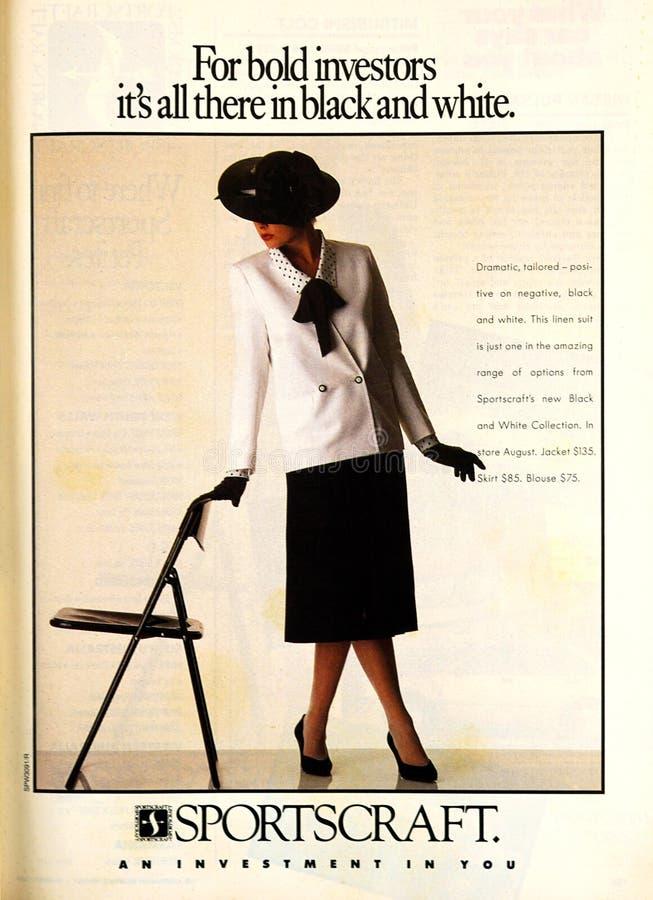 Reclame van het tijdschriftsportscraft van Australische Vrouwen de Wekelijkse gedateerd Augustus 1986 royalty-vrije stock foto's