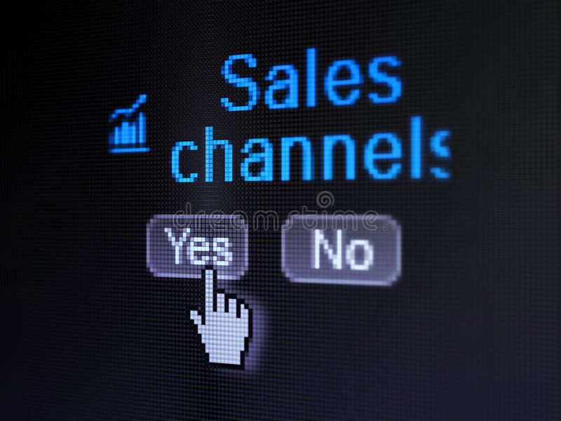 Reclameconcept: Het pictogram van de de groeigrafiek en Verkoopkanalen op het digitale computerscherm stock afbeeldingen