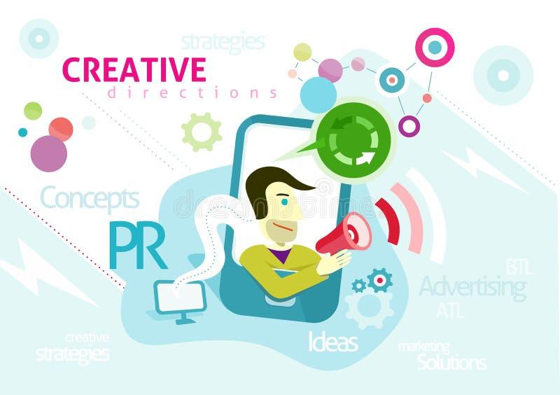 Reclameconcept met creatieve woorden PR vector illustratie