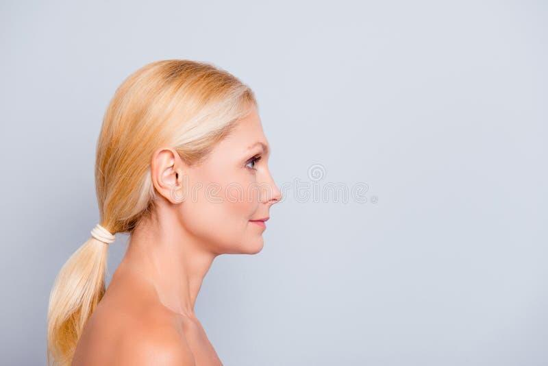 Reclameconcept Zijaanzicht, profiel, halve wi van het gezichtsportret royalty-vrije stock fotografie