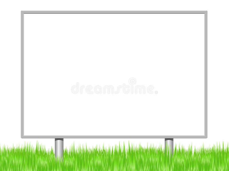 Reclameteken in een weide op een witte achtergrond wordt geplaatst die vector illustratie