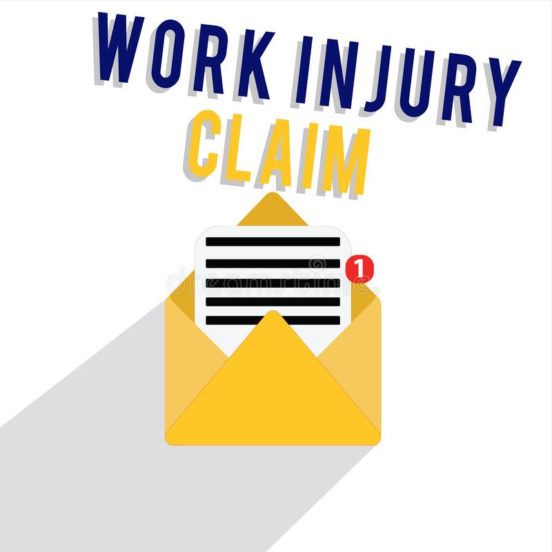 Reclamo di lesione di lavoro del testo di scrittura di parola Concetto di affari per la compensazione degli impiegati di risarcim royalty illustrazione gratis