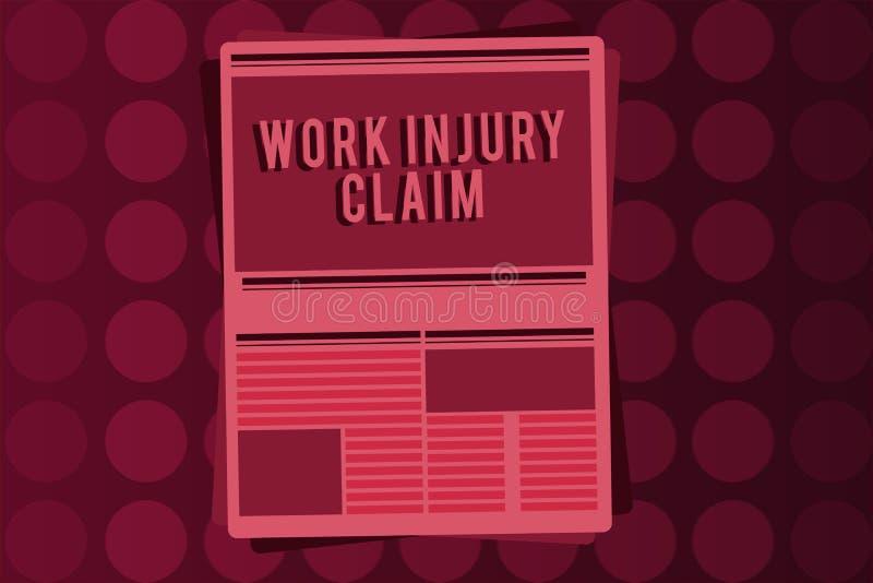 Reclamo di lesione di lavoro del testo di scrittura di parola Concetto di affari per la compensazione degli impiegati di risarcim illustrazione di stock