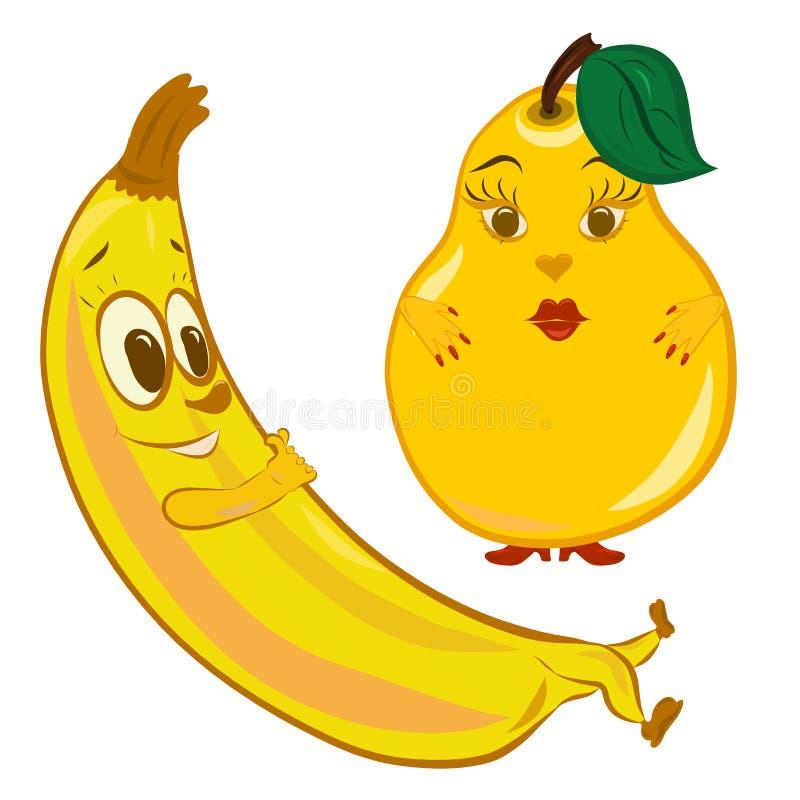 Reclinación alegre del plátano y pera seria gruesa ilustración del vector