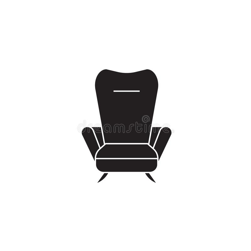 Recliner black vector concept icon. Recliner flat illustration, sign. Symbol stock illustration