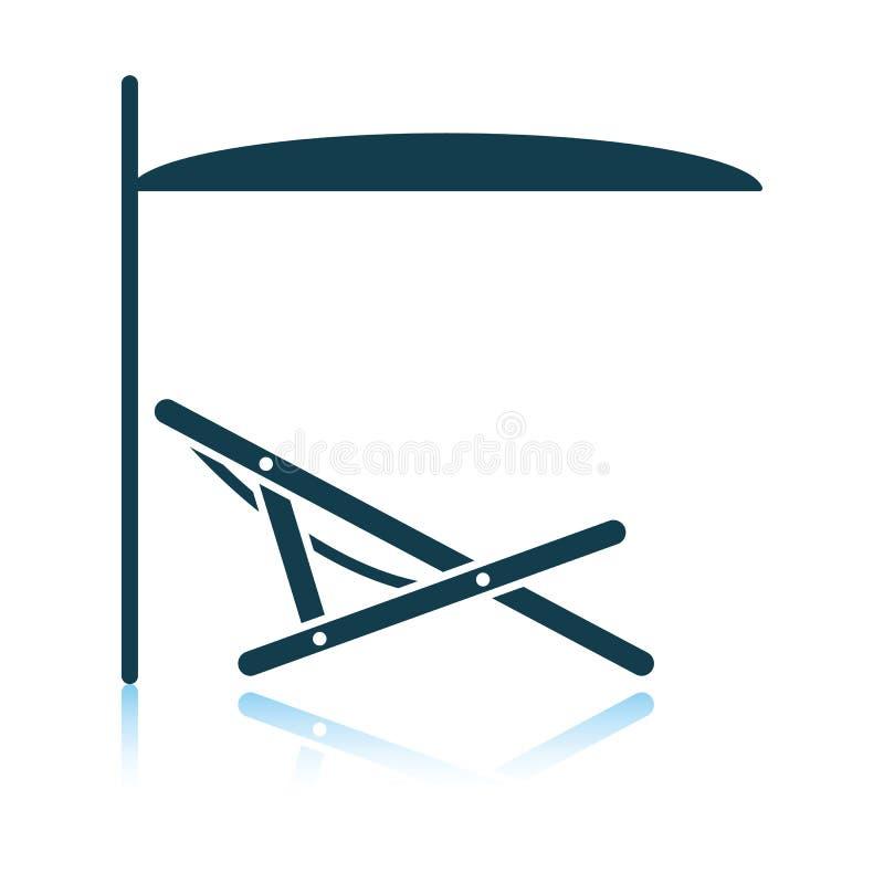 Recliner della spiaggia del mare con l'icona dell'ombrello royalty illustrazione gratis