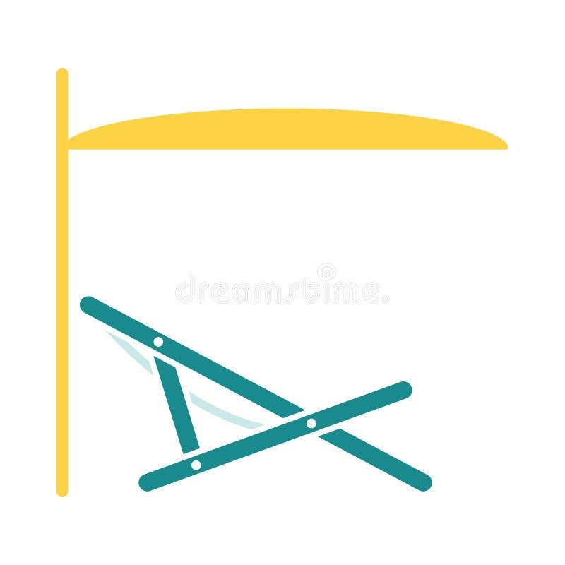 Recliner della spiaggia del mare con l'icona dell'ombrello illustrazione vettoriale