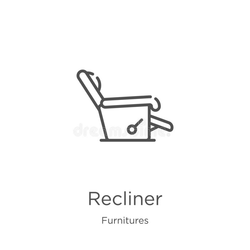 Recliner icon vector from furnitures collection. Thin line recliner outline icon vector illustration. Outline, thin line recliner. Recliner icon. Element of royalty free illustration