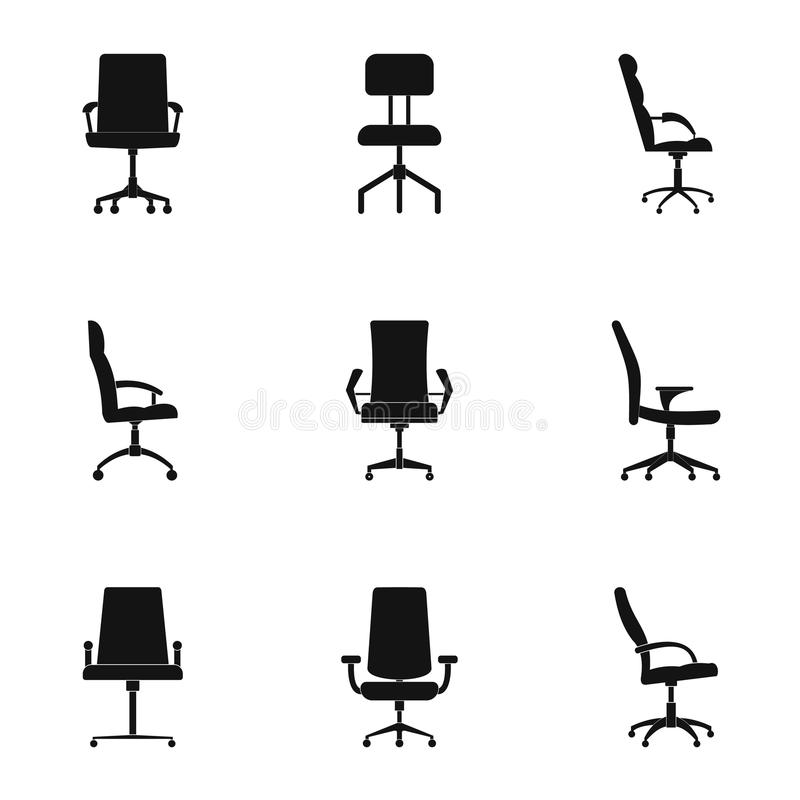 Recliner icons set, simple style. Recliner icons set. Simple set of 9 recliner icons for web isolated on white background stock illustration