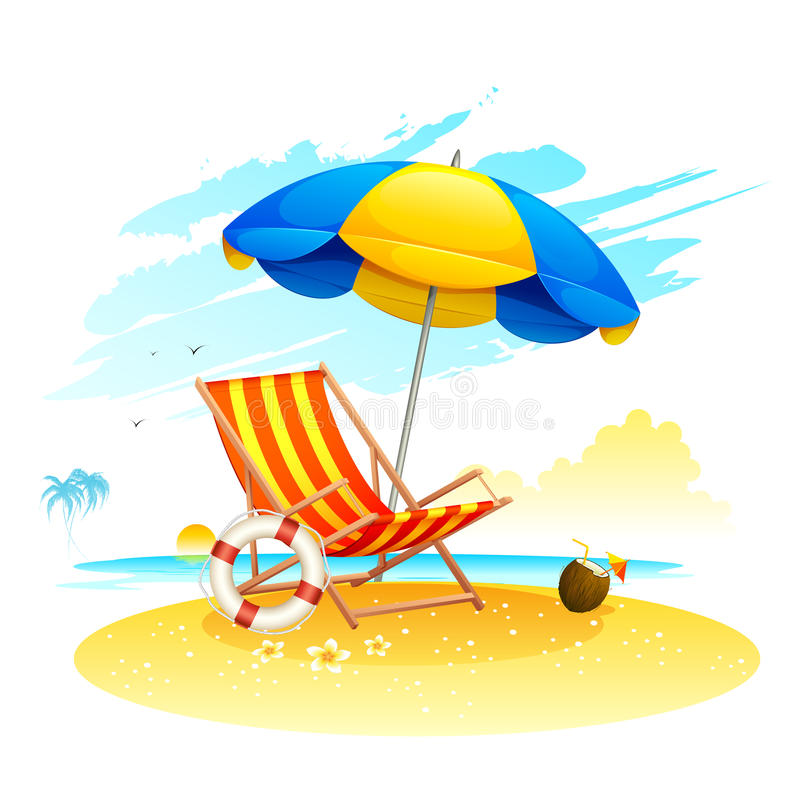 Recliner on Sea Beach. Illustration of recliner under garden umbrella in sea beach royalty free illustration
