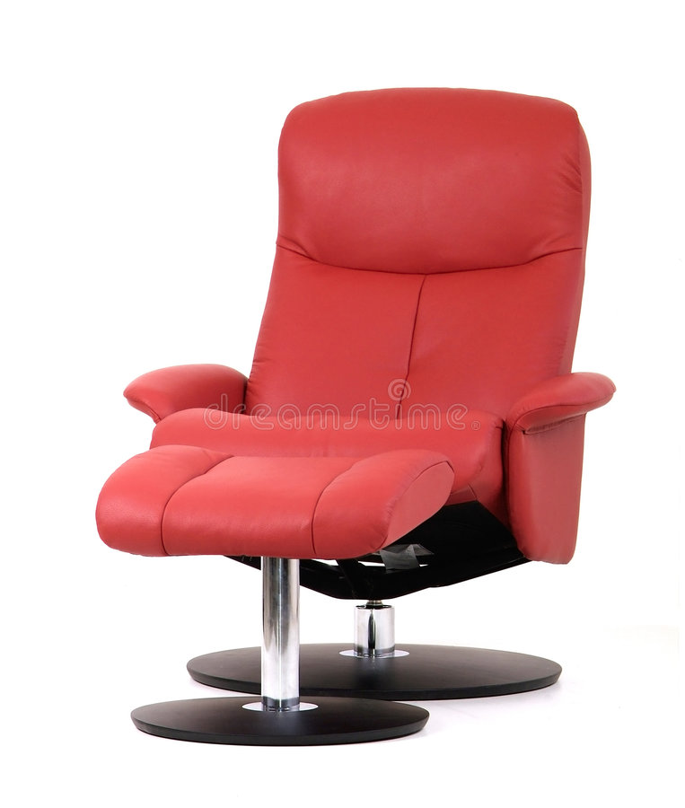 Recliner vermelho com footstool imagens de stock royalty free