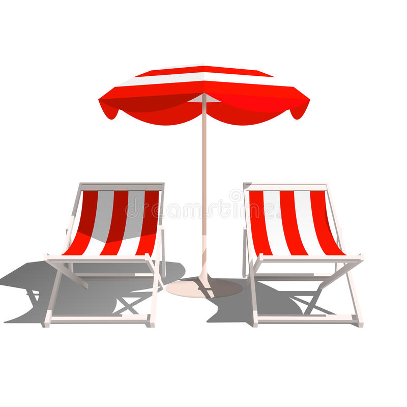 Free Recliners And Beach Umbrella On A White Background Stock Photography - 91356972