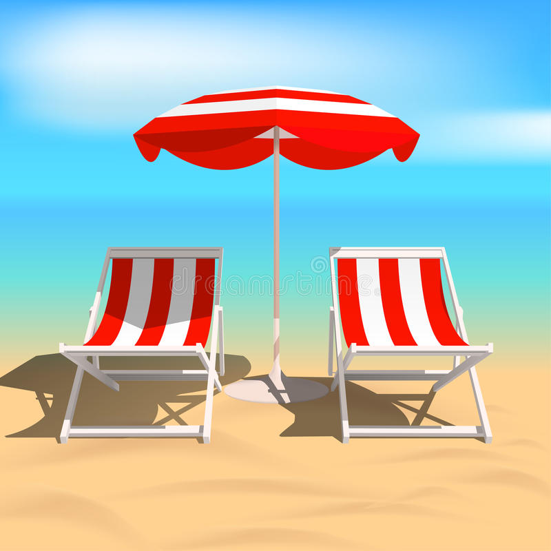 Free Recliners And Beach Umbrella. Sea. Vector Illustration Stock Images - 91356994