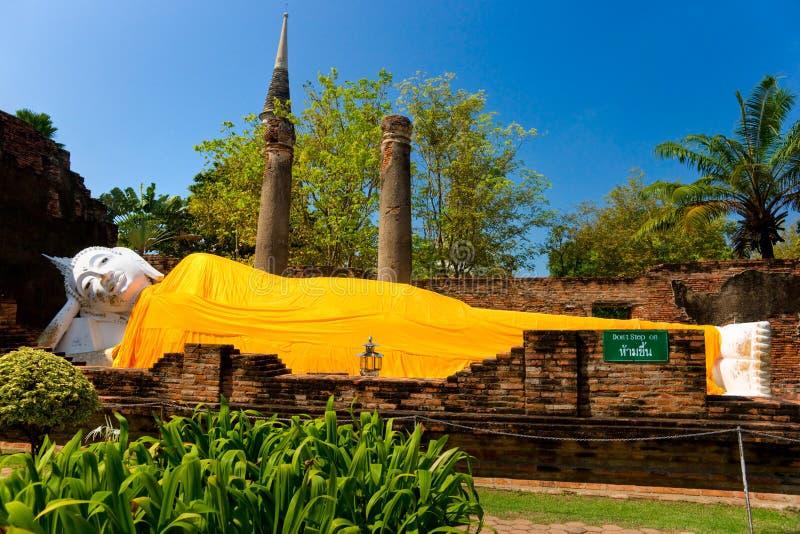 Reclinig Buddha, Ayutthaya, Thailand, stockfotografie