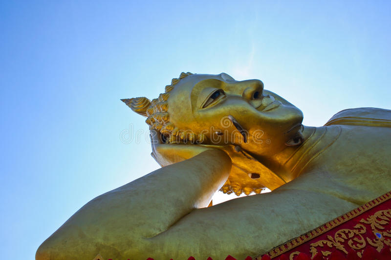Reclining buddha in chiang mai royalty free stock photos