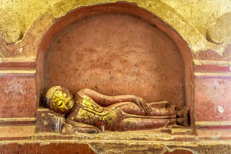 Reclining Golden Buddha royalty free stock photos