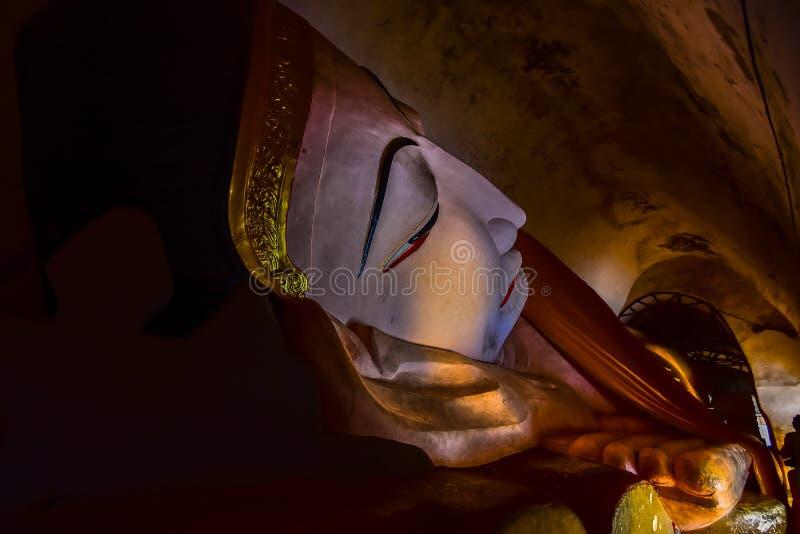 Reclining buddha of Manuha temple royalty free stock photo