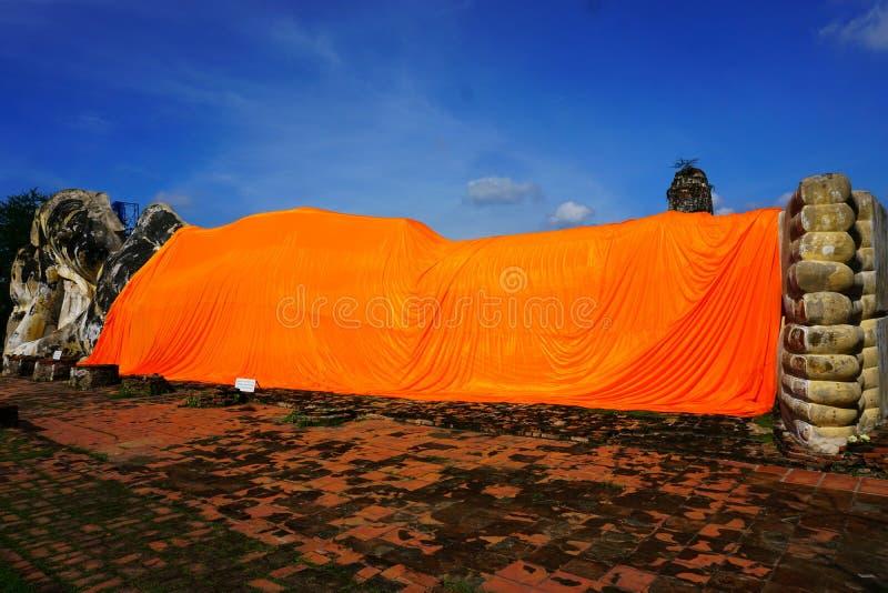 Reclining Buddha the most important landmark in Ayutthaya Thailand on September 24, 2017. Reclining Buddha the most important landmark in Ayutthaya Thailand many stock image