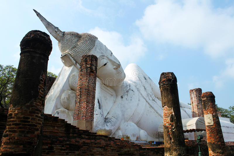 Reclining Buddha statue stock photo