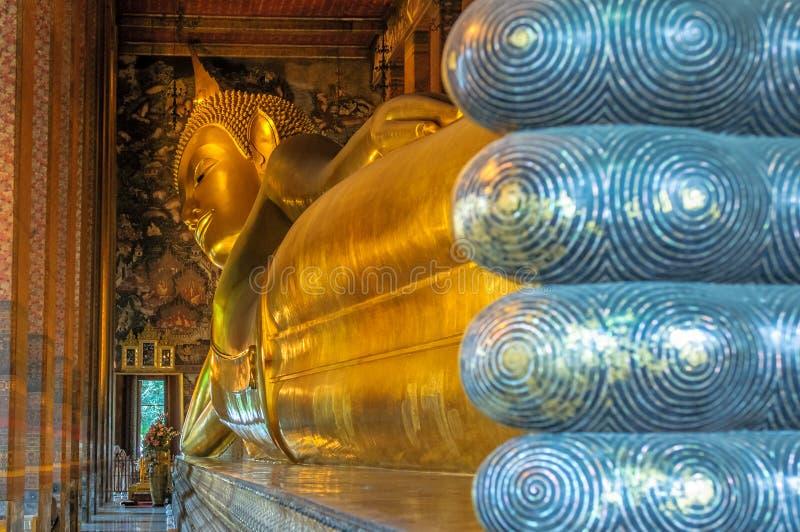 Reclining buddha, Wat Pho, Bangkok, Thailand stock photos