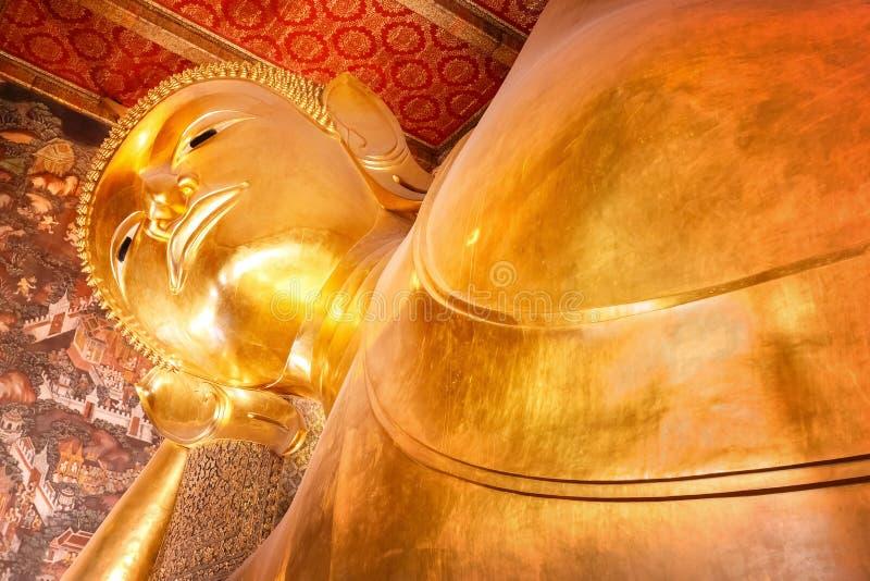 The Reclining Buddha at Wat Pho (Pho Temple) in Bangkok stock photos
