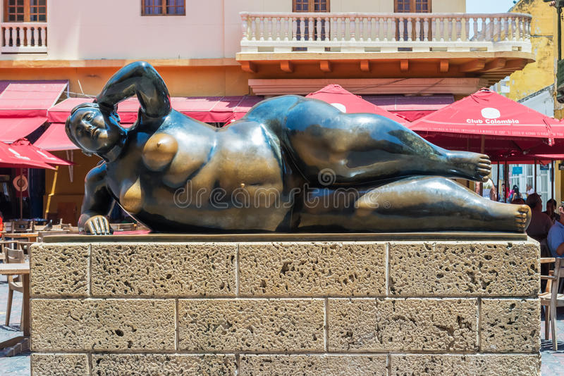 Reclining Fat Lady Statue in Old Town, Cartagena, Colombia royalty free stock photo