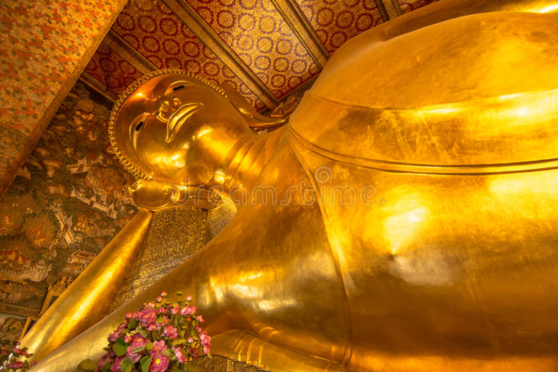 Reclining golden Buddha , Wat Pho temple, Bangkok, Thailand royalty free stock photo