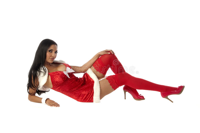 Reclining Mrs Clause stock photos