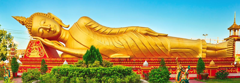 Reclning Buddha Vientiane, Laos Panorama immagini stock