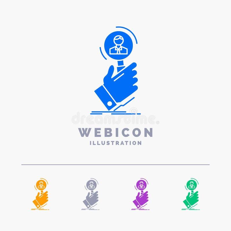 reclutamiento, búsqueda, hallazgo, recurso humano, plantilla del icono de la web del Glyph del color de la gente 5 aislada en bla libre illustration