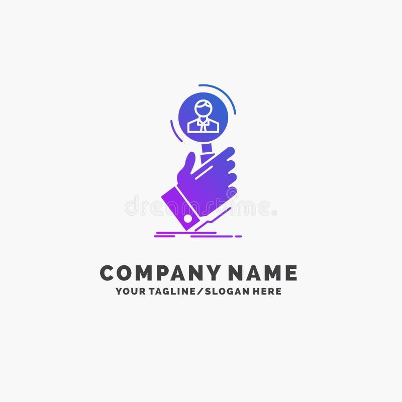 reclutamiento, b?squeda, hallazgo, recurso humano, negocio p?rpura Logo Template de la gente Lugar para el Tagline libre illustration