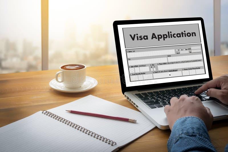 Reclutamiento del empleo de la solicitud de visado del TRABAJO para trabajar businessma foto de archivo