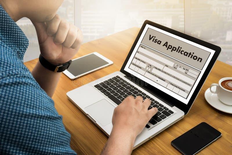 Reclutamiento del empleo de la solicitud de visado del TRABAJO para trabajar businessma imagen de archivo libre de regalías