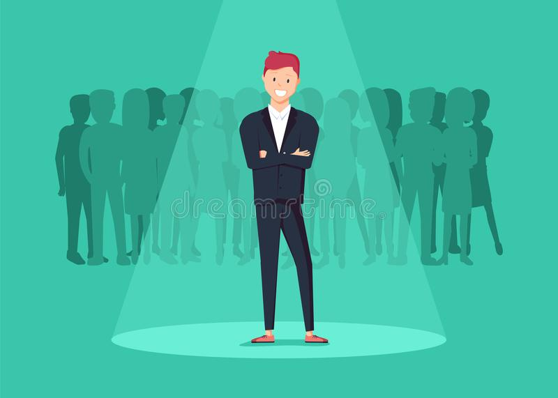 Reclutamiento del negocio o concepto de alquiler Buscar talento Hombre de negocios que se coloca en proyector o searchligh libre illustration