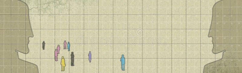 Reclutamiento del personal Dos perfiles masculinos se hacen frente a una muchedumbre de gente diversa en un fondo texturizado libre illustration