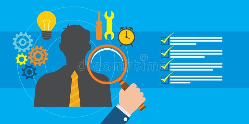 Reclutamiento y gestión del empleado ilustración del vector