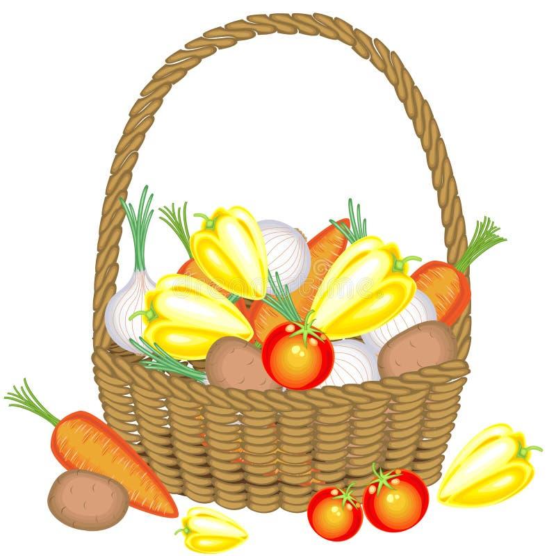 Recogió una cosecha abundante en la cesta, las patatas, las zanahorias, los tomates, las cebollas y las pimientas Veh?culos hermo stock de ilustración