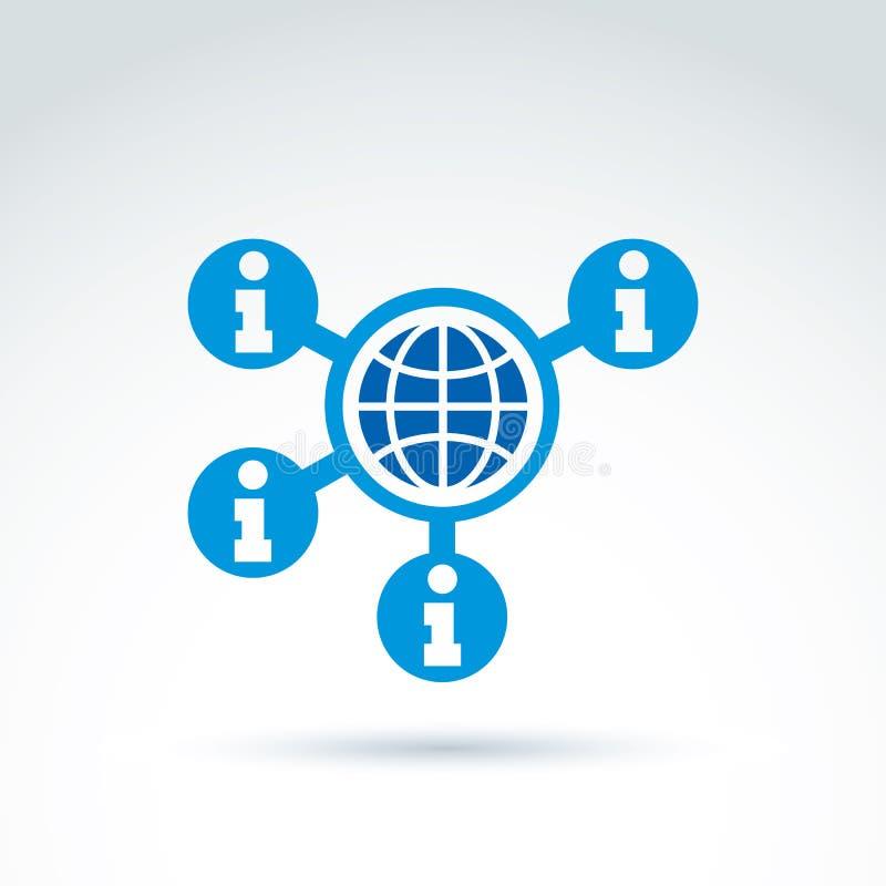 Recogida de la información e icono del tema del intercambio, noticias globales, soc stock de ilustración