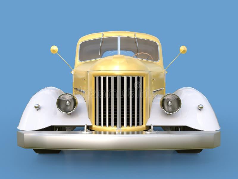 Recogida restaurada vieja Recogida en el estilo del coche de carreras ilustración 3D coche De oro-blanco en un fondo azul ilustración del vector