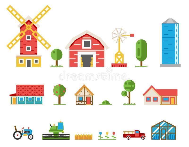 Recogida rural de la cosechadora del tractor de las cabañas de los edificios ilustración del vector