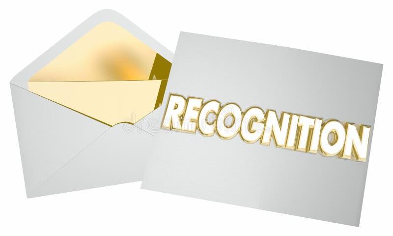 Recognition Check Money Award Payout. 3d Illustration stock illustration