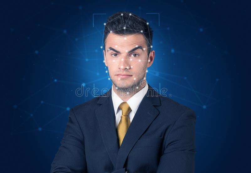 Recognition of a face by layering a mesh royalty free stock photography