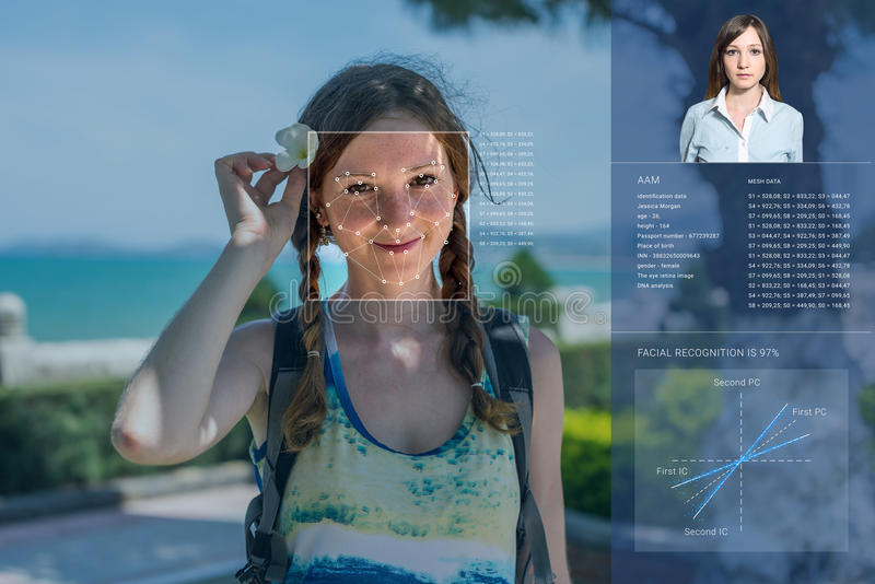 Recognition of female face. Biometric verification and identification. Recognition of a female face by layering a mesh and the calculation of the personal data stock photos