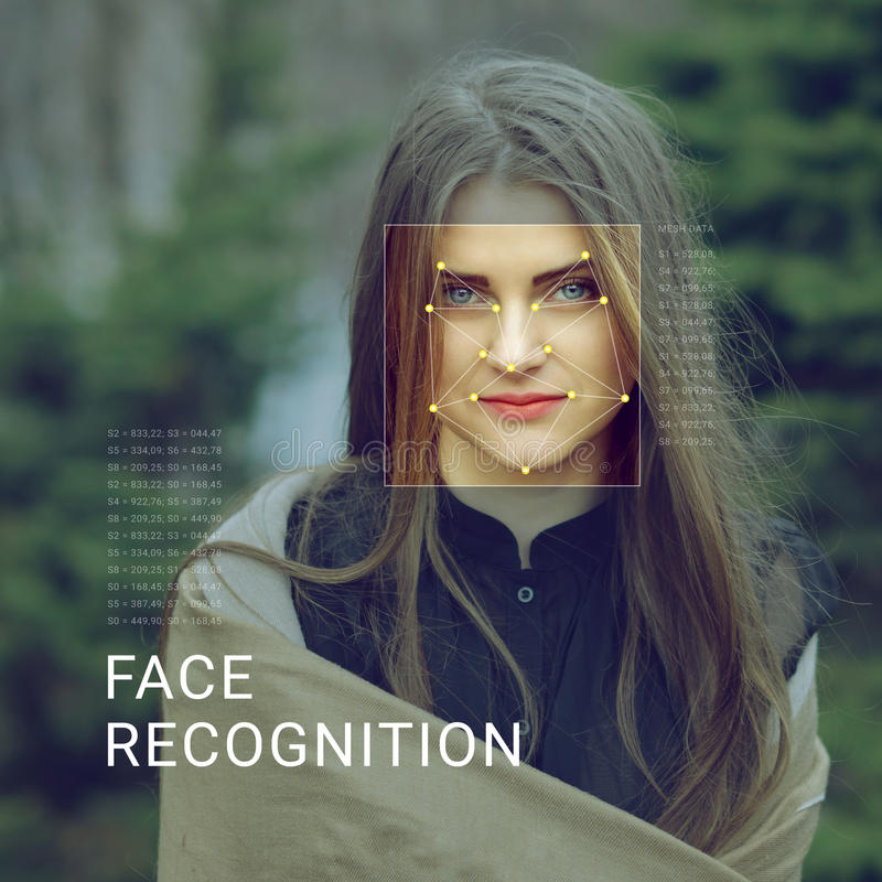 Recognition of female face. Biometric verification and identification. Recognition of a female face by layering a mesh and the calculation of the personal data stock photography
