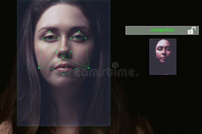 Recognition of the user`s face, the security system .the access is allowed .the concept of privacy.  stock photography