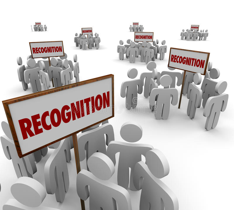 Recognition Word Signs Groups People Workers Employees Appreciation. Recognition word on signs and groups of people or workers around them to illustrate stock illustration